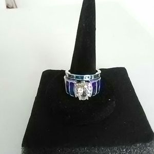 Beautiful diamond and enamel wedding set